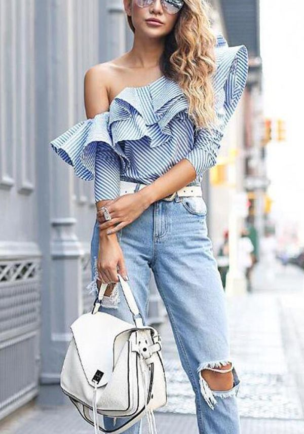 7049187ac95f55 Women's One Shoulder Ruffles Blouse | Style Inspiration | Ruffle ...