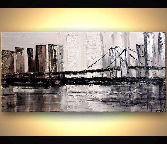 Modern 48 x 24 ORIGINAL City Bridge Acrylic by OsnatFineArt, $450.00