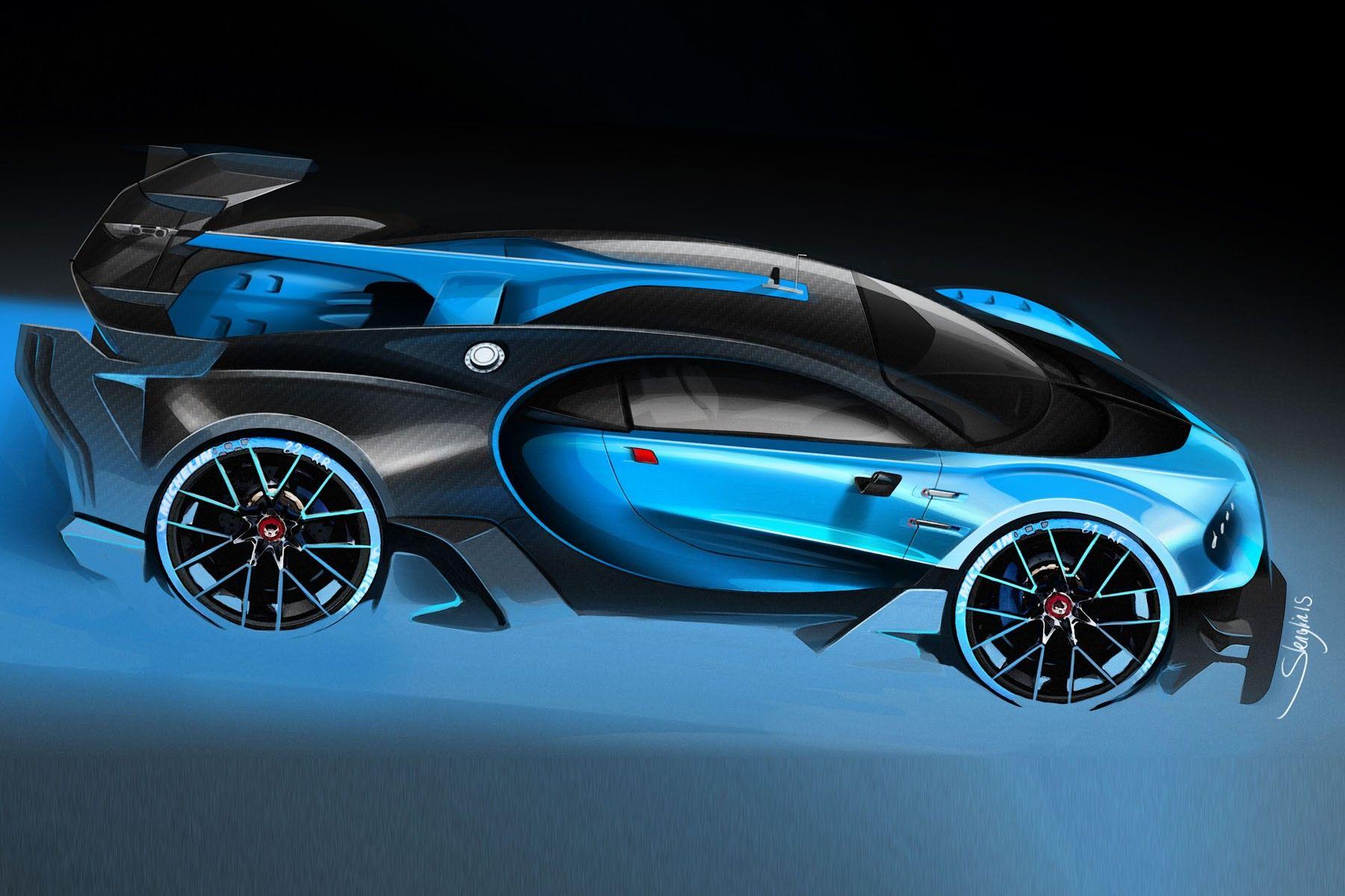 Bugatti Vision Granturismo official press sketch by stephane Lenglin
