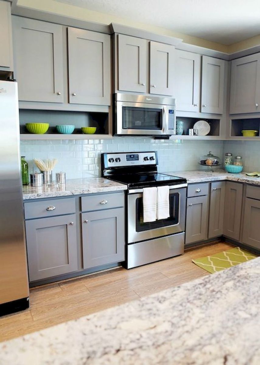 gray kitchen cabinet makeover ideas 54 remodels farmhouse kitchen cabinets grey kitchen on kitchen cabinets grey and white id=43078