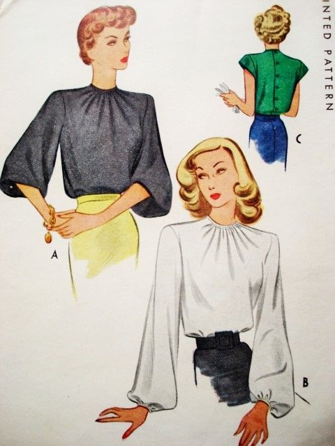 Lovely 1940s BLOUSE Pattern McCALL 6569 Button Back Blouse 3 Sleeve ...