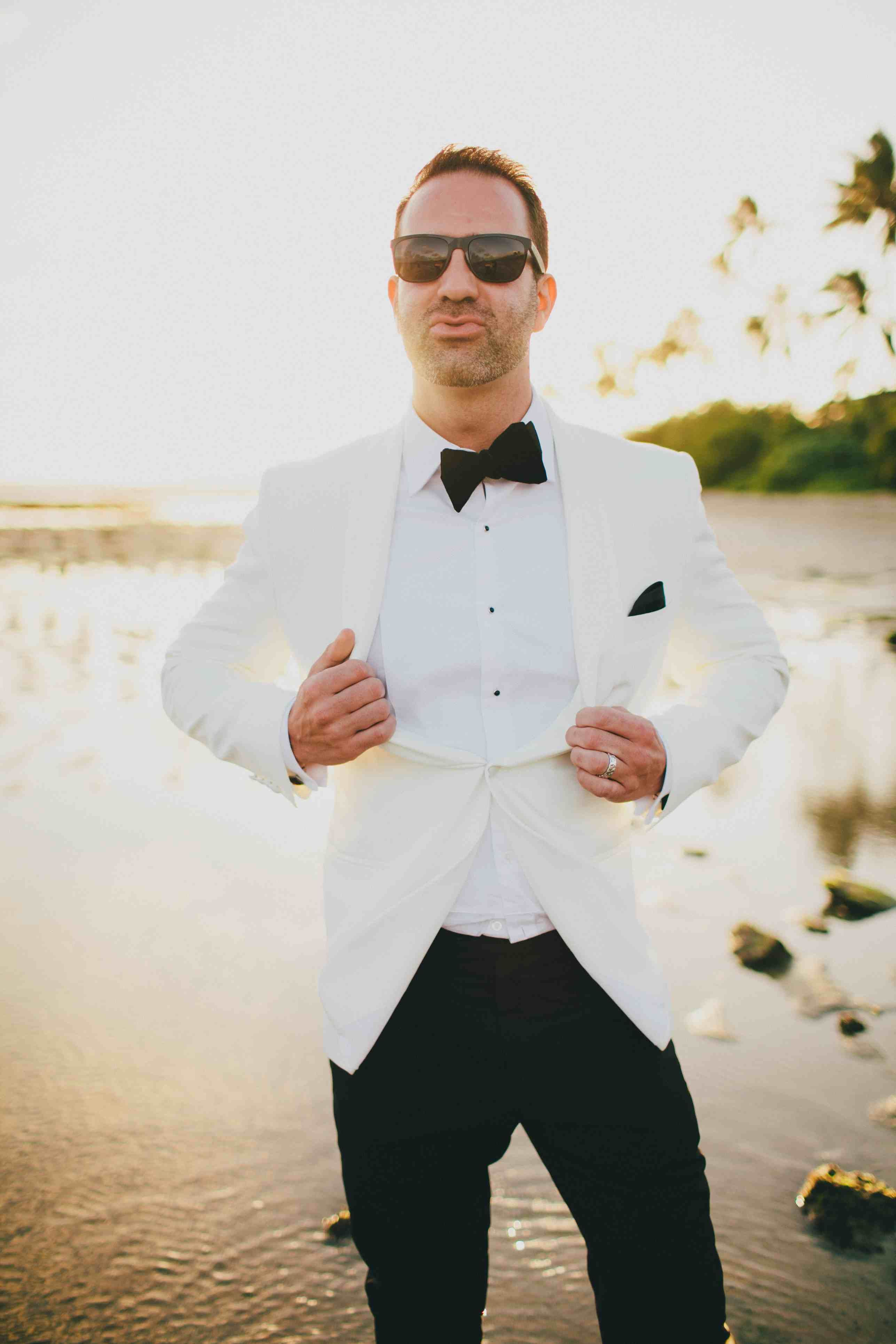 our dapper groom. Moana Events. Groom style, white tuxedo