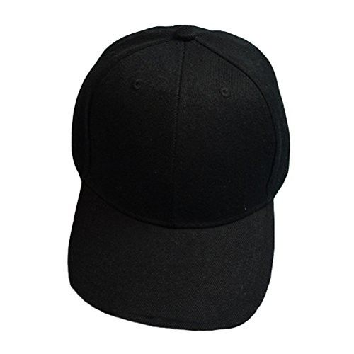 5d46d860e5d Baseball Cap Blank Solid Color Velcro Closure Adjustable Plain Hat (All  Color) (Black)