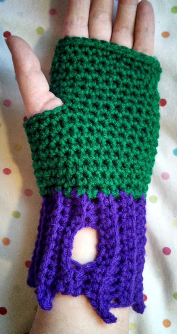 Crochet Handmade Incredible Hulk Fingerless Gloves The Avengers
