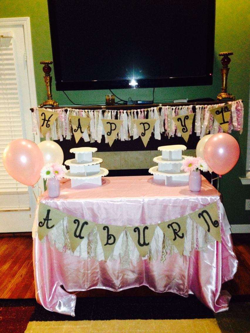 Pink & Gold fabric garland theme for a 1st birthday party!