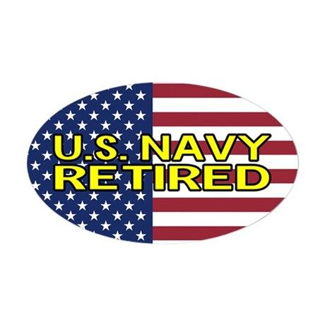 63d483db998 U.S. Navy  Retired (American Flag) Sticker (Oval) on CafePress.com