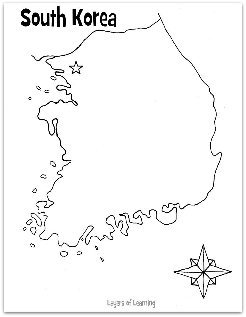 South korea coloring book - South Korea Blank Map Several Good Ideas For Learning About South Korea