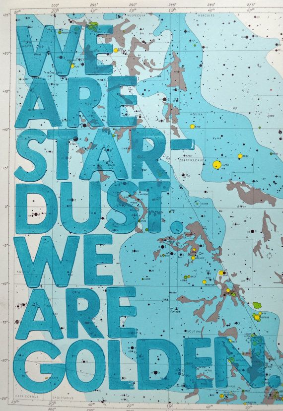 We Are Stardust We Are Golden Letterpress Print on by amyriceart
