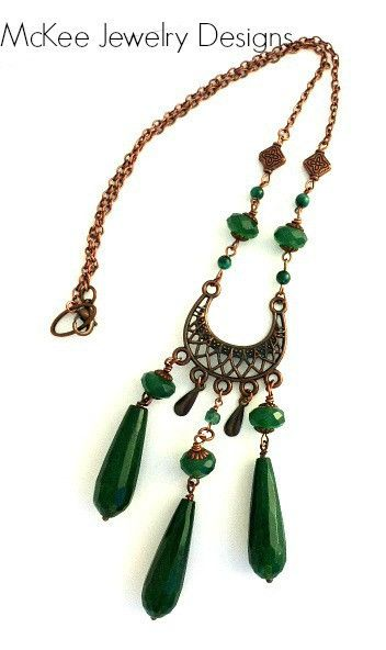 Copper and green gemstone necklace. Bohemian style jewelry. Boho long necklace. McKee Jewelry Designs