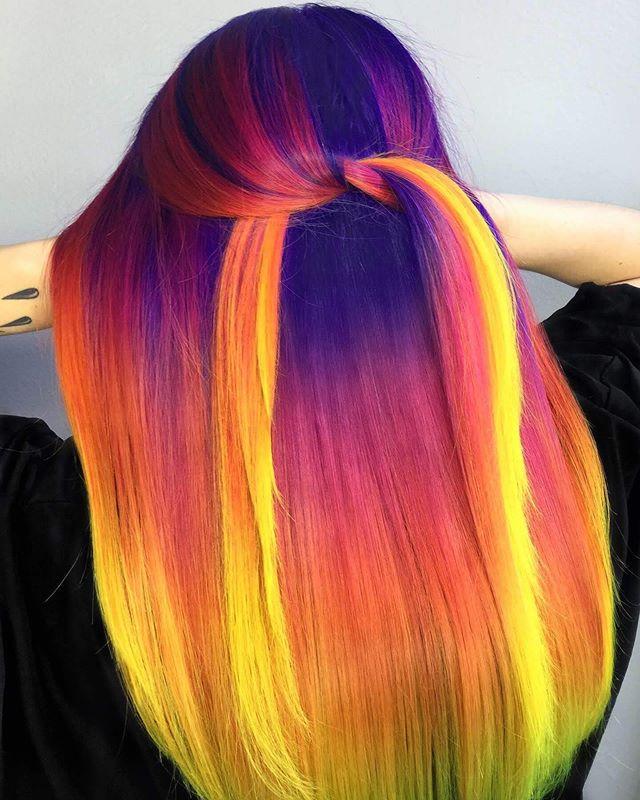 Denver Co Vivids Blonding On Instagram Midnight Sunset I Started With Pravana Artificial Hair Color In 2020 Sunset Hair Creative Hair Color Vivid Hair Color