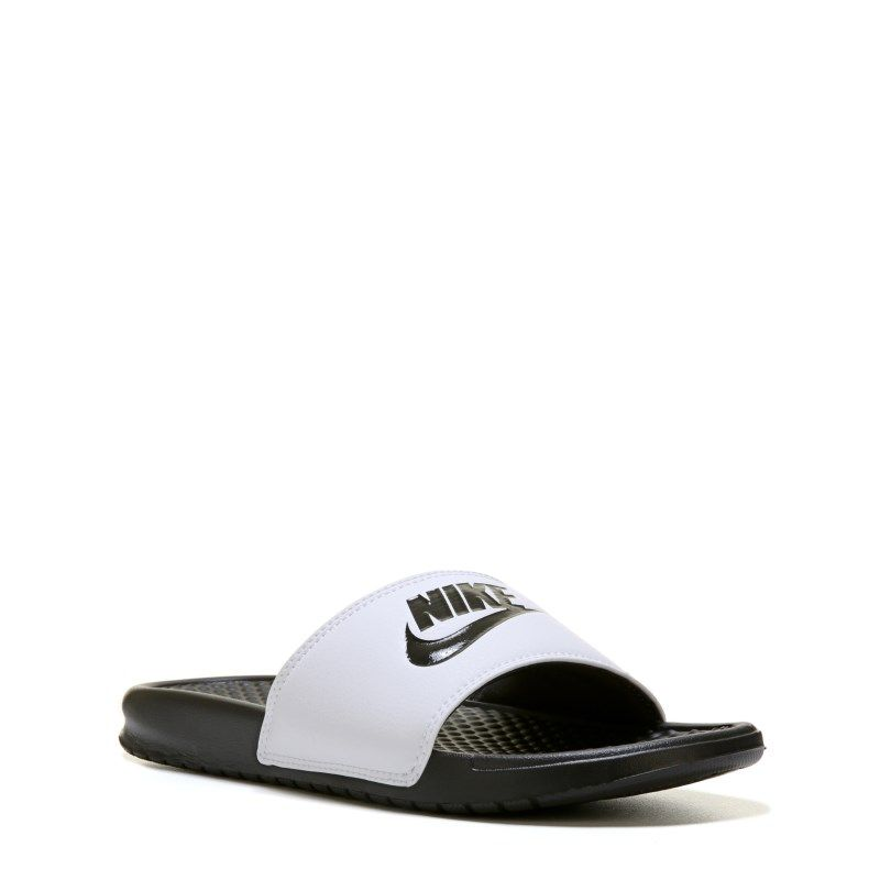 promo code 4ef17 3fe2a Nike Men s Benassi JDI Slide Sandals (White-Black Black)