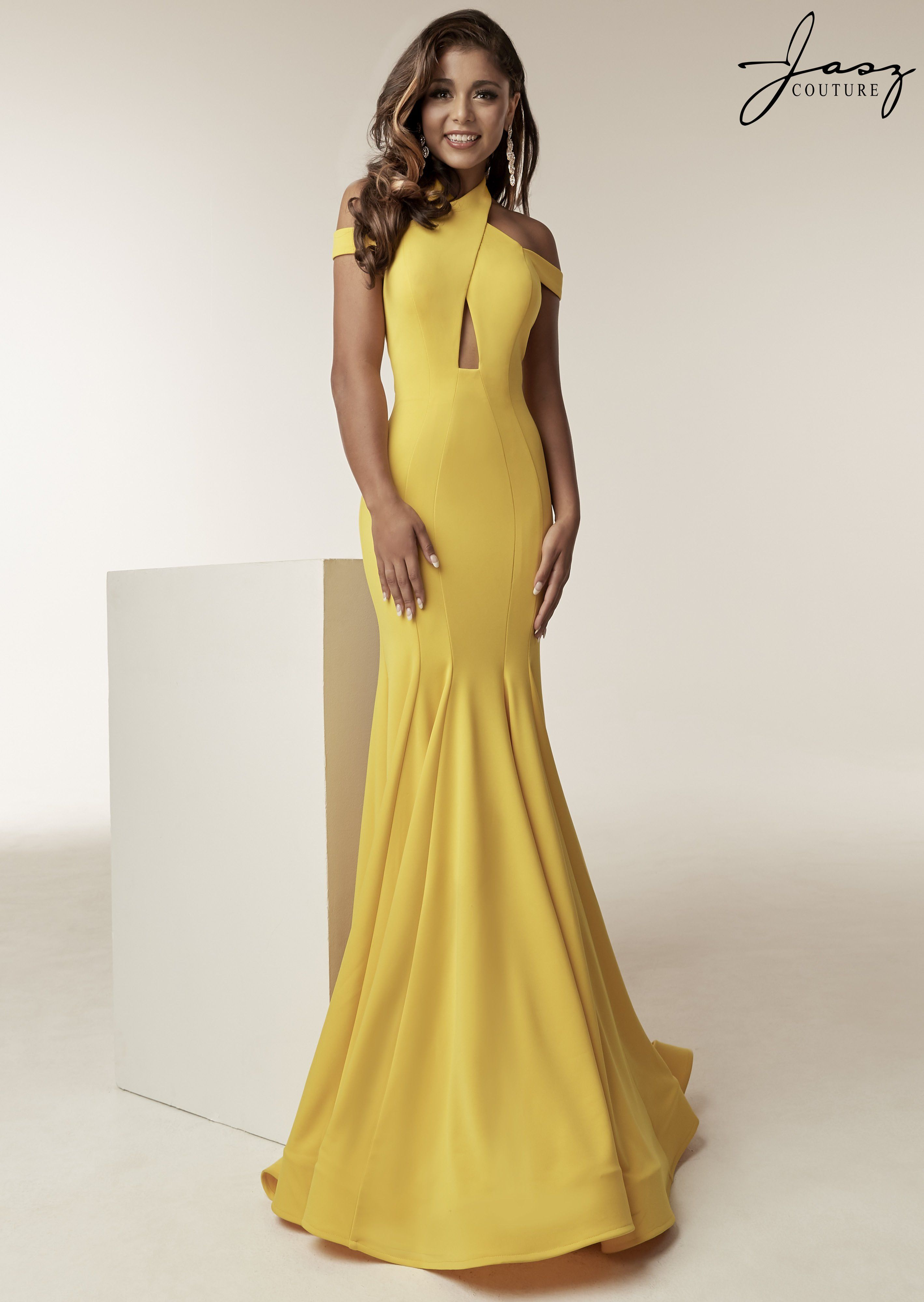 f08fcde48438 Jasz Couture 6238 Yellow High Neck Off the Shoulder Fit and Flare Prom Dress
