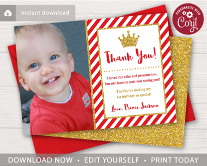 Prince Birthday Thank You Card In Red And Gold With Photo Birthday Thank You Cards Birthday Thank You Prince Birthday