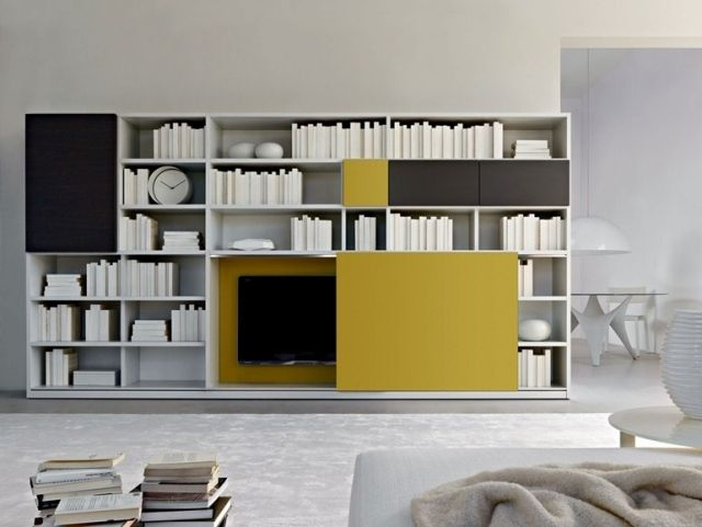 Salon design 50 id es sur le mobilier tendance en 2015 for Bibliotheque meuble moderne