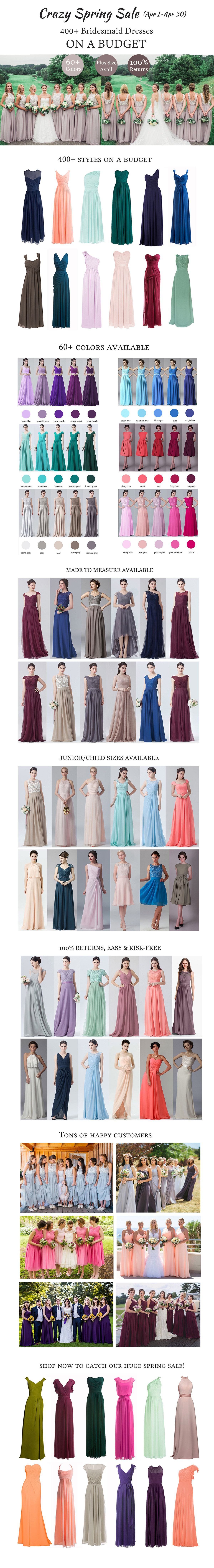 Now through apr crazy spring sale on all fhfh bridesmaid dresses