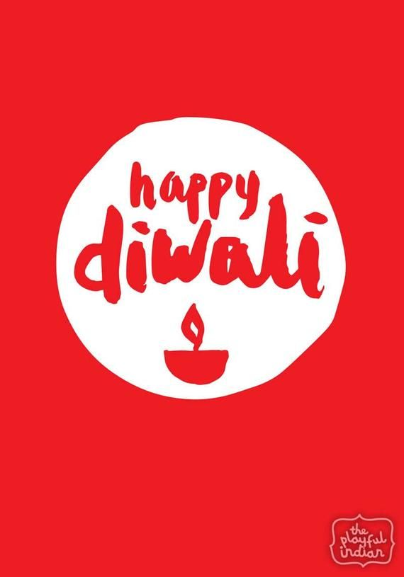 Happy Diwali Greeting Card - Red
