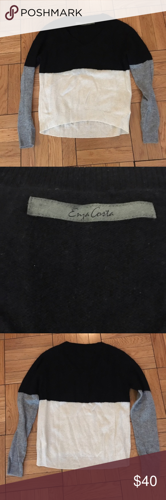 Enza Costa Cashmere crew neck sweater Cashmere colorblock sweater in grey, black and white. Great condition. Enza Costa Sweaters Crew & Scoop Necks