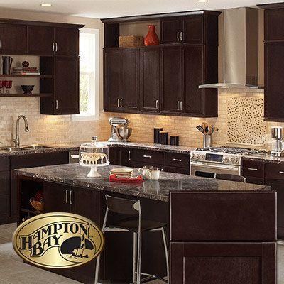 dark brown kitchen cabinets the home depot chocolate ...