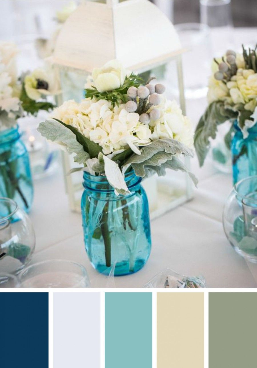 Coastal Wedding Color Guide | Coastal, Table flowers and Rehearsal ...