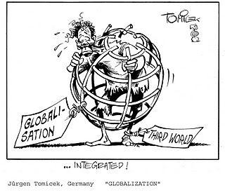 This cartoon emphasises the impact on developing countries