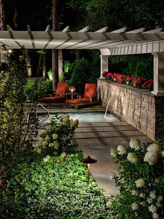 Terrazas abiertas patios piscinas chimeneas abiertas - Chimeneas para terrazas ...