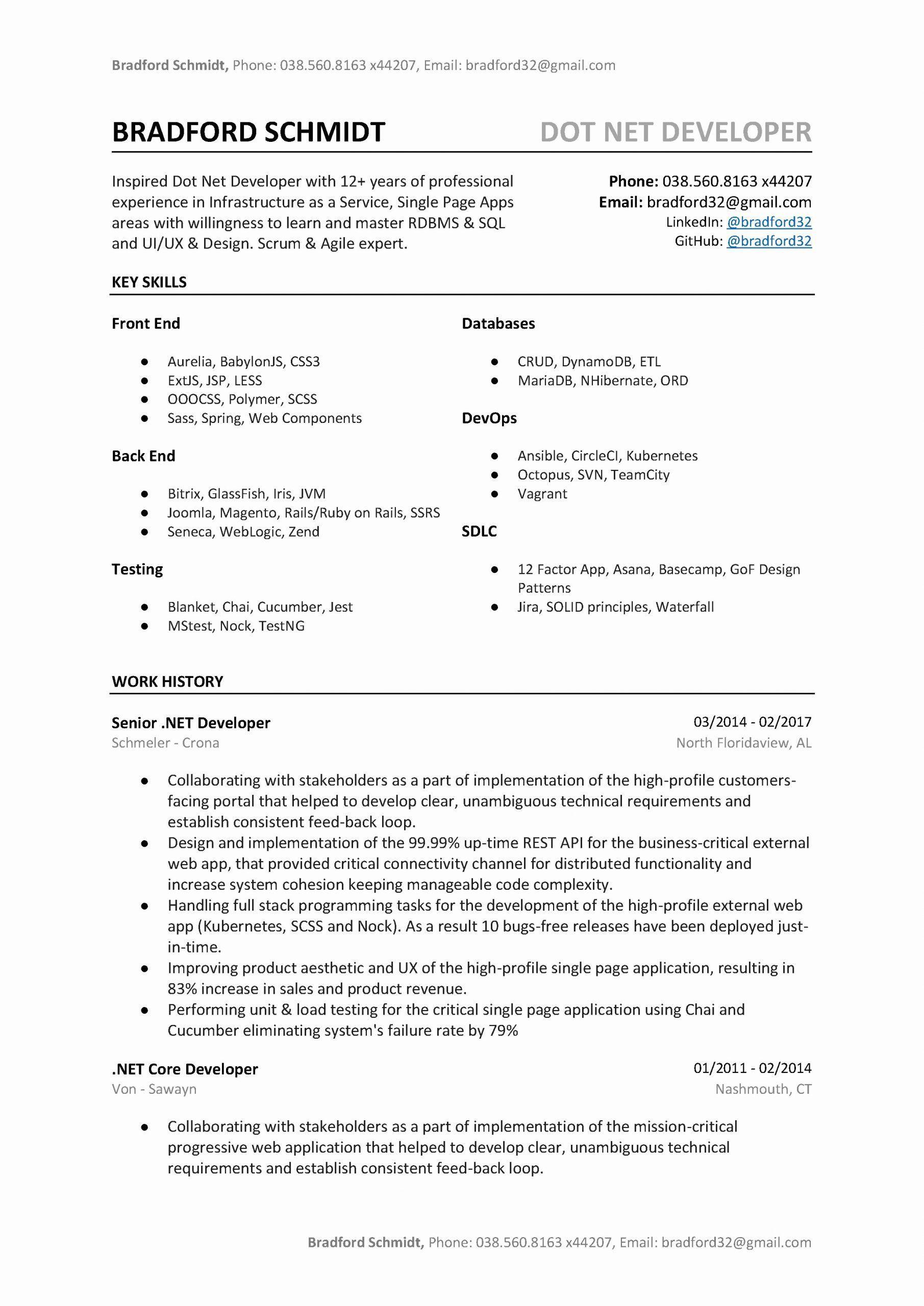 Net Developer Resume Sample Unique Dot Net Developer Resume Sample Template To Download Word Download Resume Free Printable Resume Resume