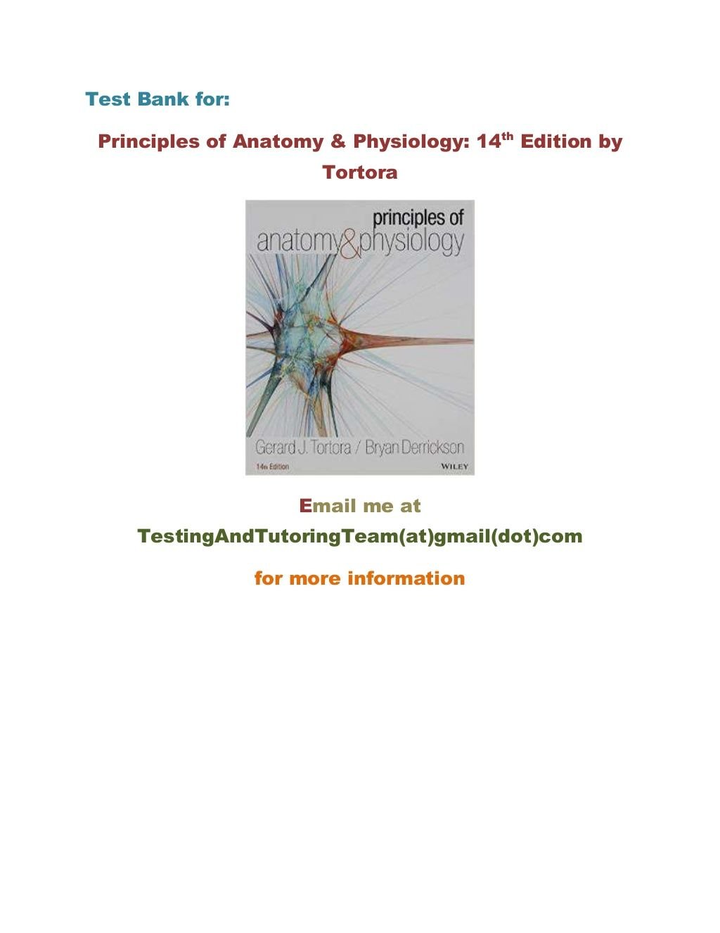Test Bank for Principles of Anatomy & Physiology 14th Edition by ...
