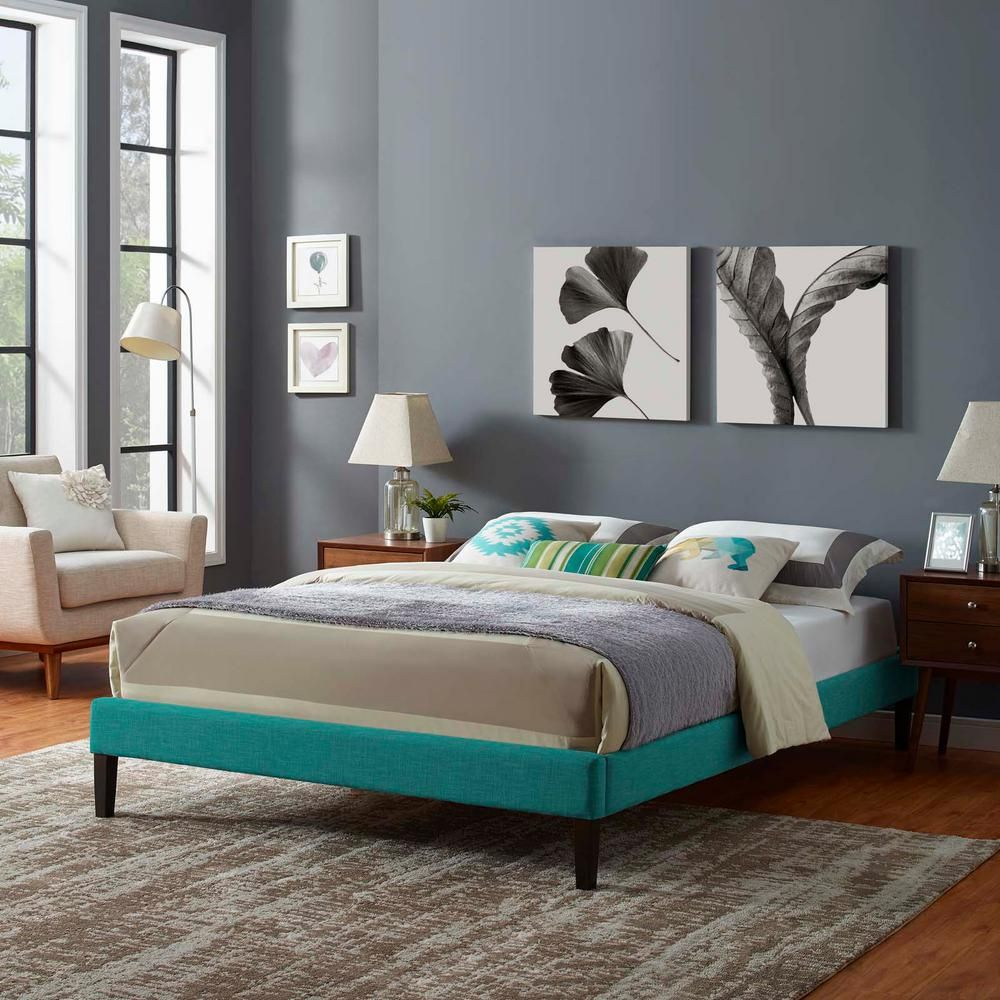Modway Tessie Teal Queen Upholstered Fabric Bed Frame With Squared