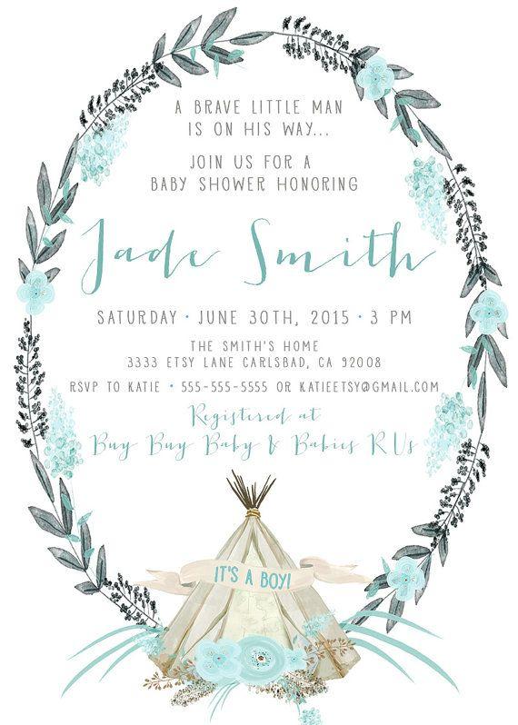 Boy Baby Shower Invitation Tee Pee Pow Wow Printable Invite 407