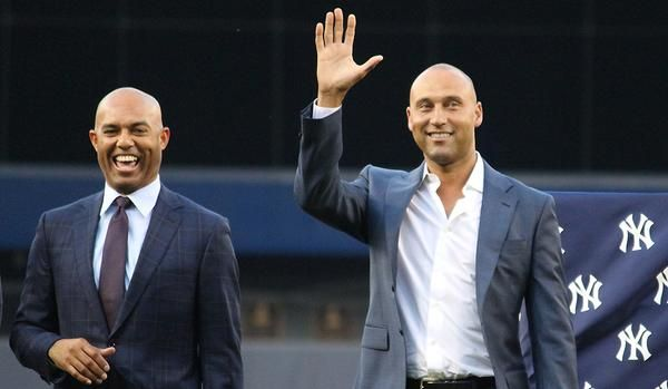 "New York Yankees on Twitter: ""Derek Jeter and Mariano Rivera, grinning from ear to ear on #BernieDay. http://t.co/rb10FKRAgX"""