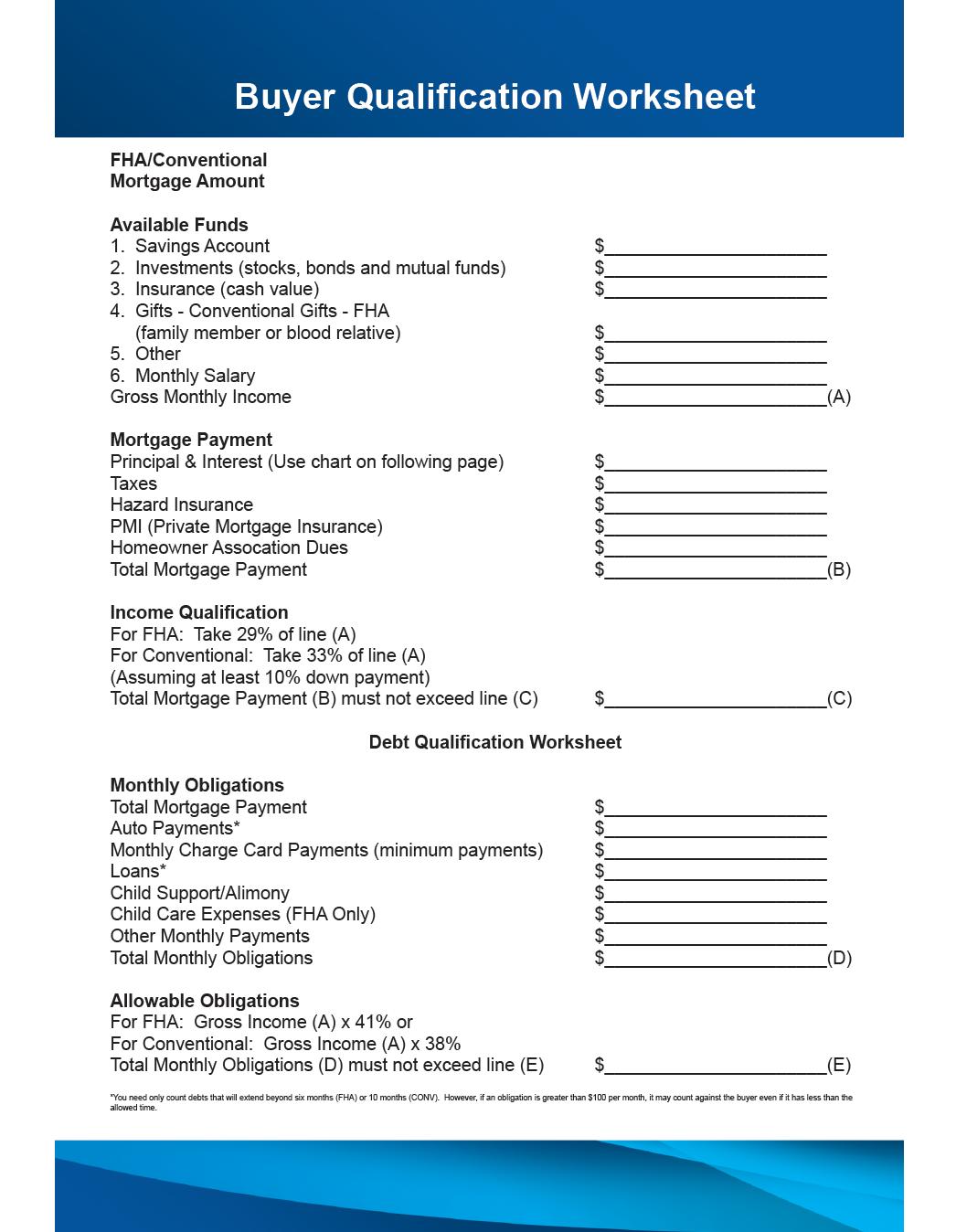 Buyer Qualification Sheet