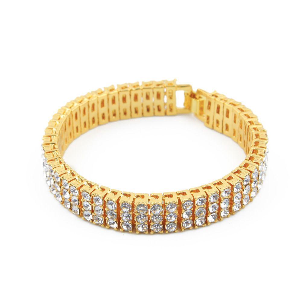 row bling bling rhinestone gold plating alloy hip hop bracelet