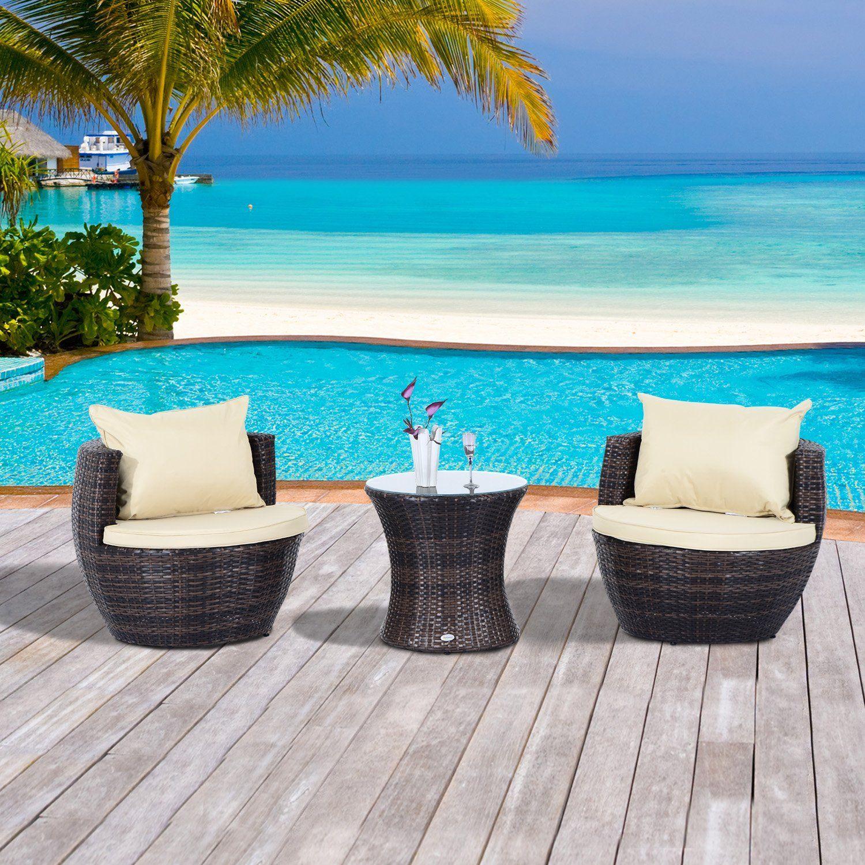 Outdoor Garden Rattan Furniture Vase Chair Set Stackable 3 PC Tea Furniture  Set FIRE RESISTANT Sponge
