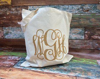 Monogrammed Tote Bag, Monogrammed Bridesmaid Gifts, Glitter Monogram Bag, Monogrammed Bag