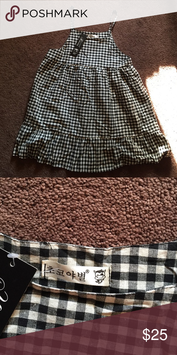 Korean gingham dress Brand new with tags one size fits most purchased in Korea not aa American Apparel Dresses Mini