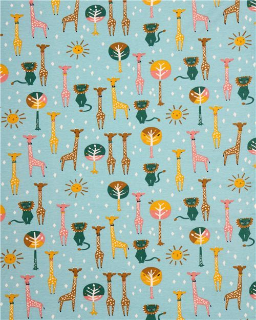 sky blue 'Happy Pals' lion & giraffe animal birch knit organic fabric USA 3