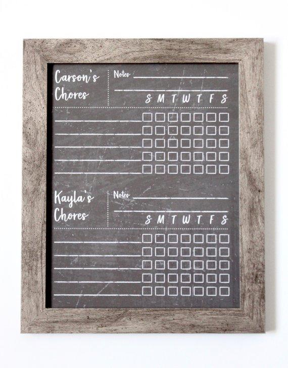 Chalkboard Chore Chart Dry Erase Chore Chart Framed Chore