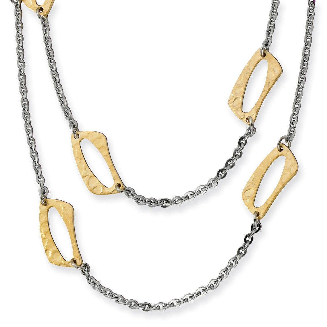 Stainless Steel Yellow IP-plated Square Link Necklace SRN401-22
