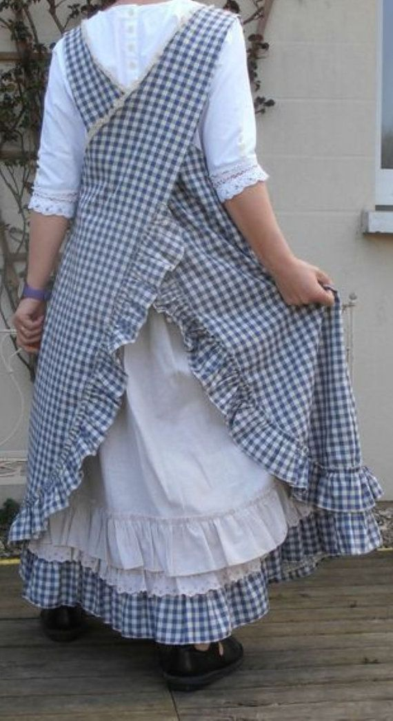 Long Pinafore Style Gingham Apron - Cross Over Back