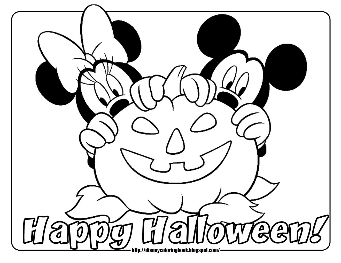 Halloween coloring printables disney - Minnie Mickey Mouse Free Disney Halloween Coloring Pages