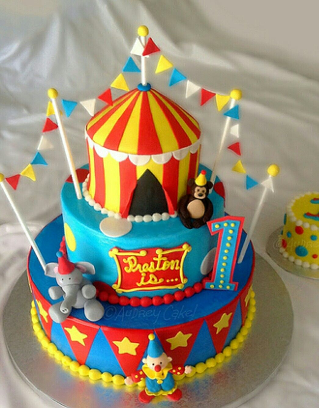 Astonishing Circus Tent Cake Carnival Birthday Cakes Circus Birthday Cake Personalised Birthday Cards Cominlily Jamesorg