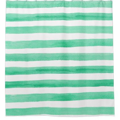 Watercolor Green And White. Modern Simple Stripes Shower Curtain
