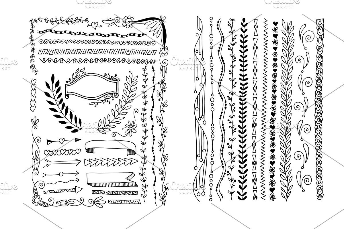 800 doodle elements set doodles how to draw hands