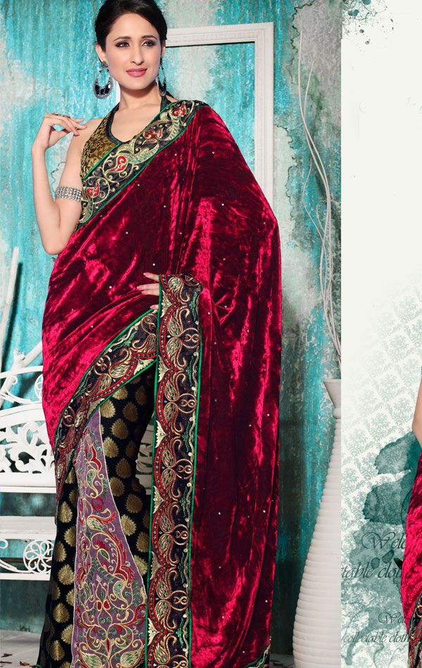 Cherry Red Color Velvet Saree Velvet saree, Saree