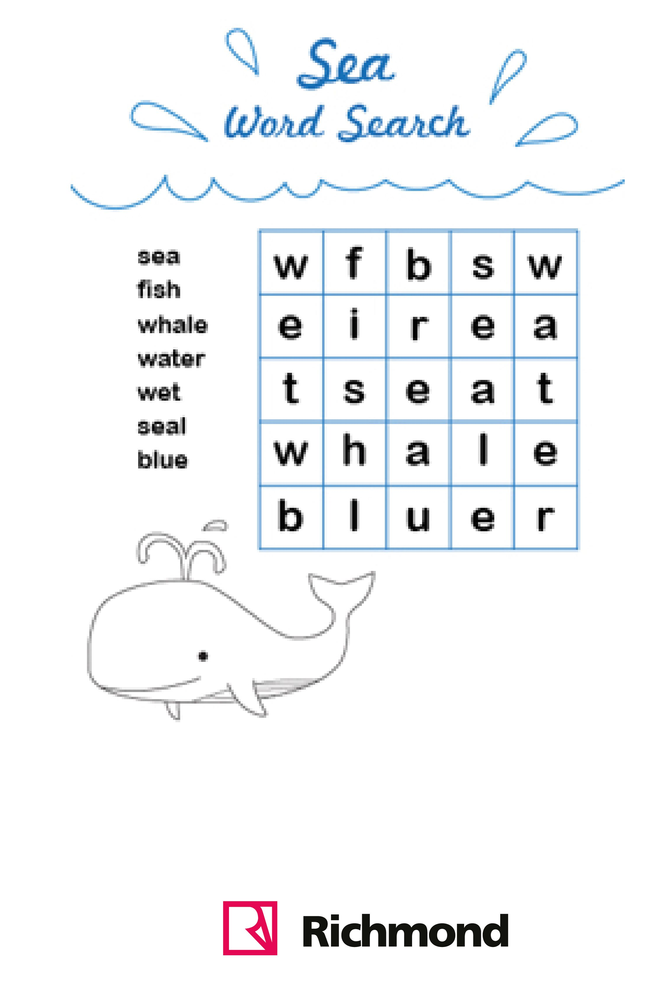 WordSearch - Sea word search! :) | Activities! | Pinterest | Kind
