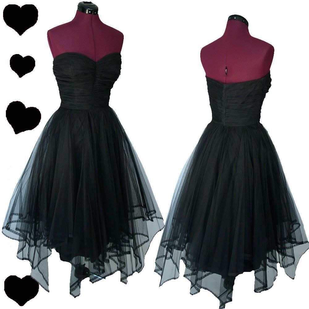 Vintage s black strapless tulle party prom dress xs rockabilly