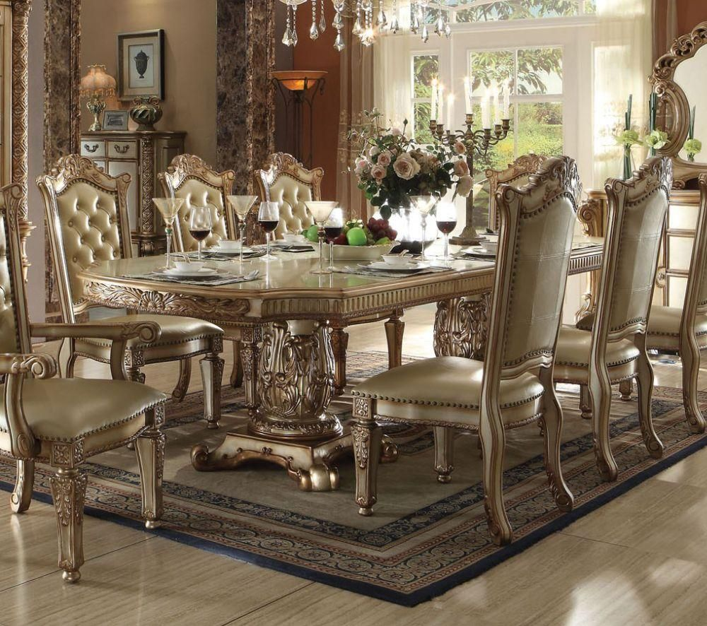 acme 63000 vendome gold patina double pedestal dining table in 2019 rh pinterest com