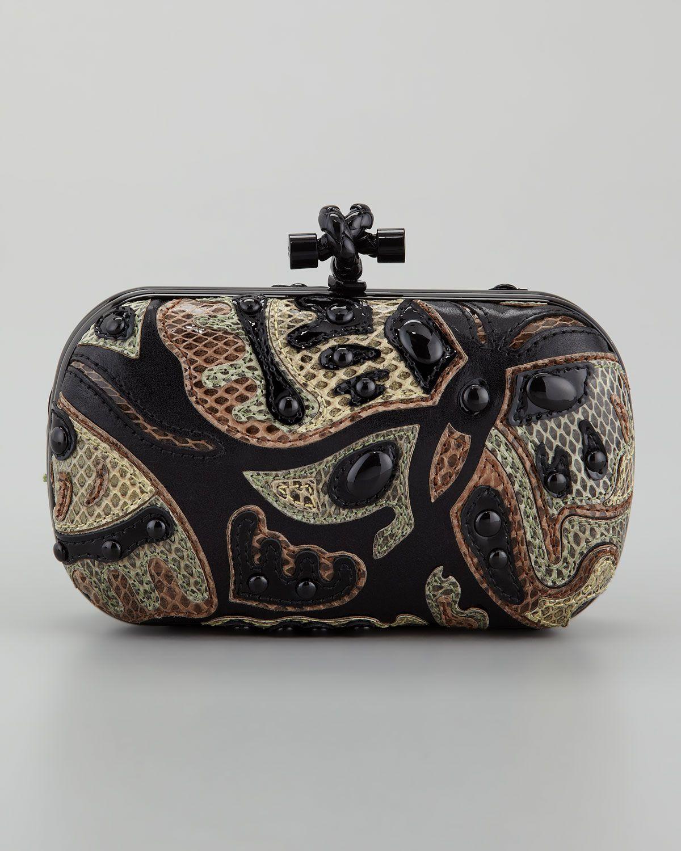 Bottega Veneta Butterfly Snakeskin Clutch Bag in Multicolor (black ... 980247dfd8557