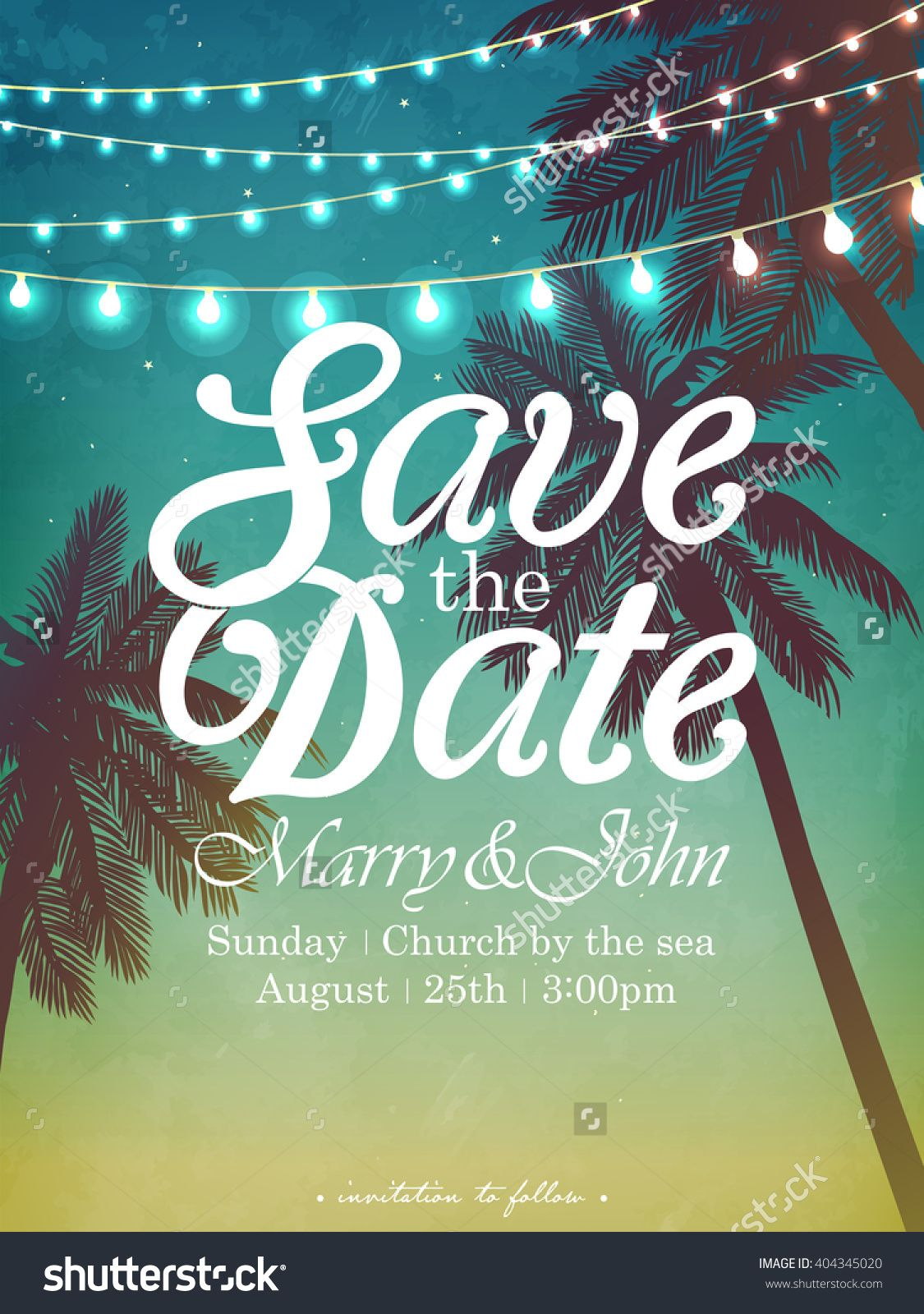 party invitations after wedding%0A Hanging decorative holiday lights for a beach party  Inspiration card for  wedding  date  birthday  Beach party invitation  buy this stock vector on