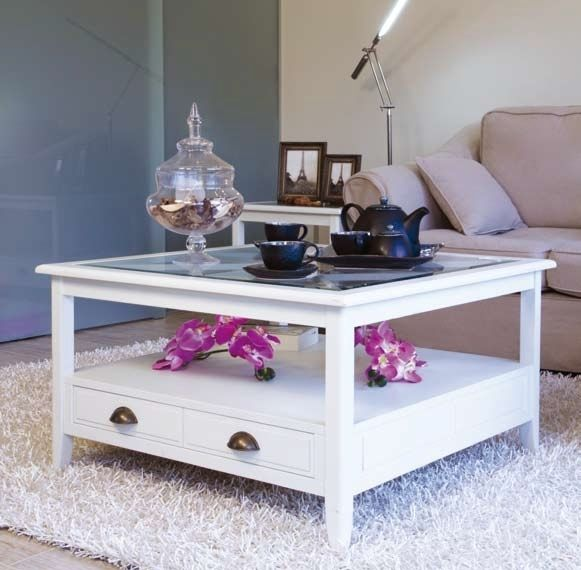 Mesa de centro cuadrada de cristal eneko blanco muebles - Cristales para mesa ...